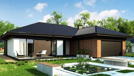 Планування привабливого котеджу на 246 кв. м з просторою вітальнею і вітражними вікнами