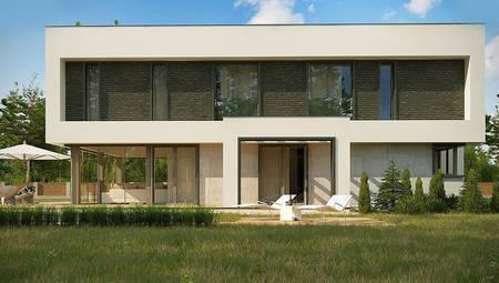 План сучасного особняка площею 283 кв. м з прибудованим гаражем на два автомобіля