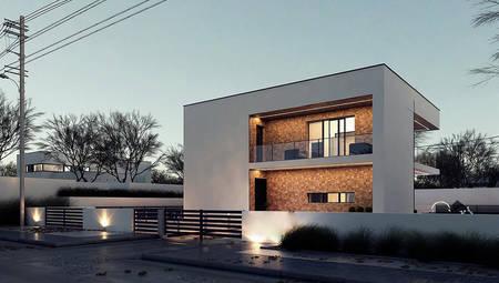 План симпатичного двоповерхового котеджу на 183 кв. м в стилі мінімалізму