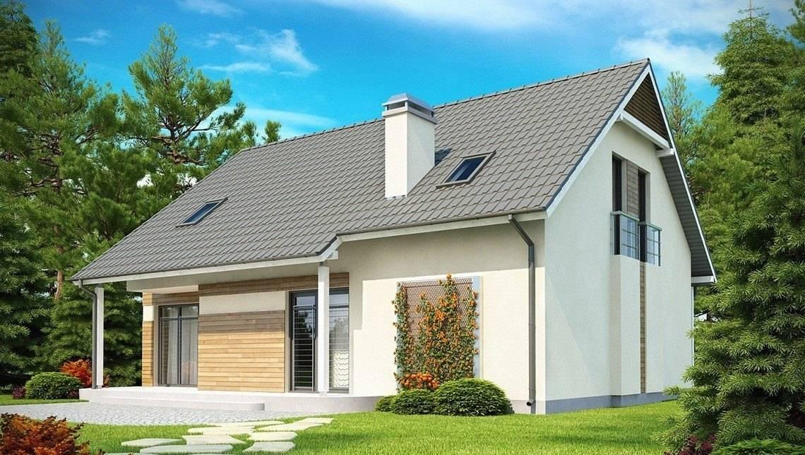 Проект котеджу з гаражем, балконом і еркером