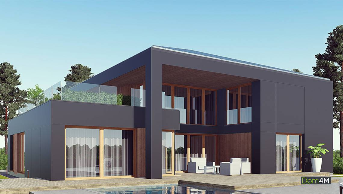 Шикарний двоповерховий будинок в темному кольорі