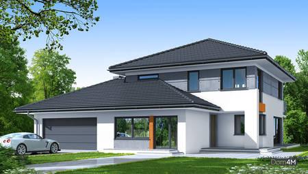 Сучасний житловий будинок з красивим балконом