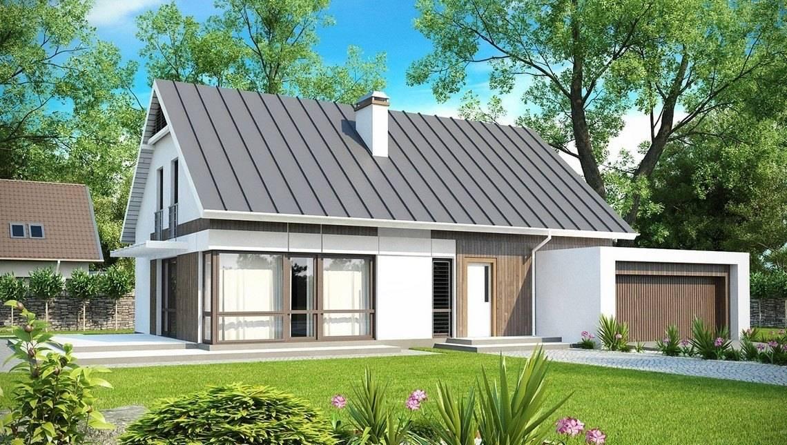 Проект будинку з мансардою, вітальнею і гаражем на дві машини
