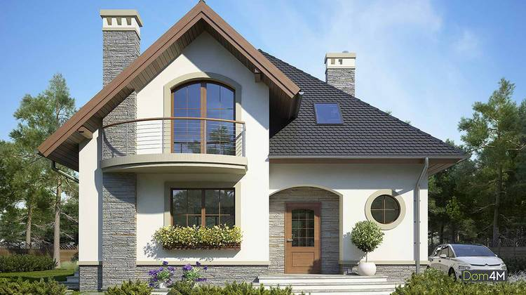 Файний житловий будинок з напівкруглими верандами