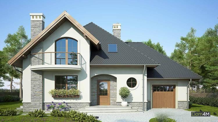 Житловий будинок з напівкруглими балконами і верандою