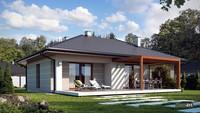 Схема житлового будинку в благородних відтінках на 100 кв. м з гаражем