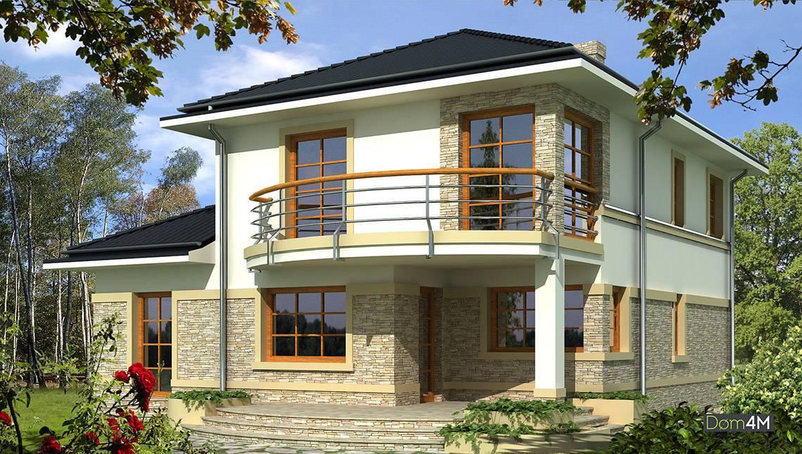 Схема оригінального двоповерхового житлового будинку з напівкруглими балконами і терасами