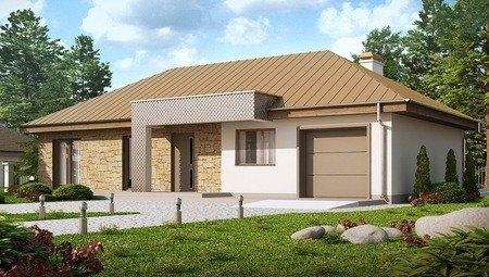 Проект одноповерхового котеджу з гаражем, з приватною зоною