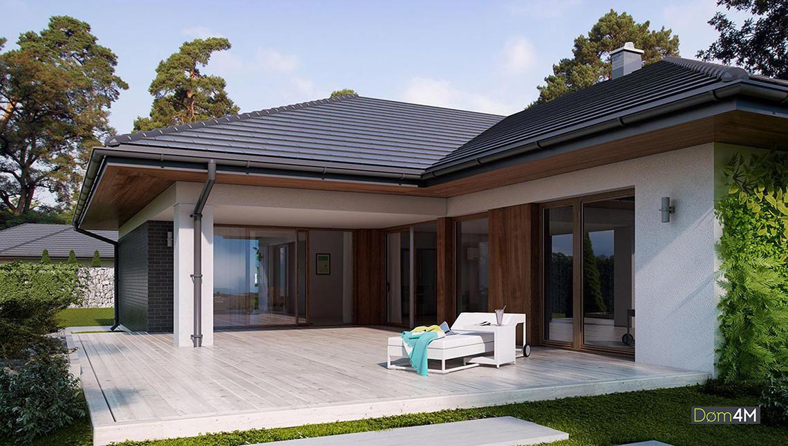 Проект одноповерхового котеджу в європейському стилі з гаражем