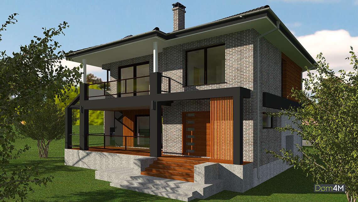 Котедж в два поверхи з балконом і високою відкритою терасою