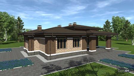 Проект компактного будинку площею 164 кв. м з трьома особистими спальнями