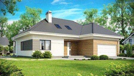 Проект котеджу з гаражем і мансардними вікнами