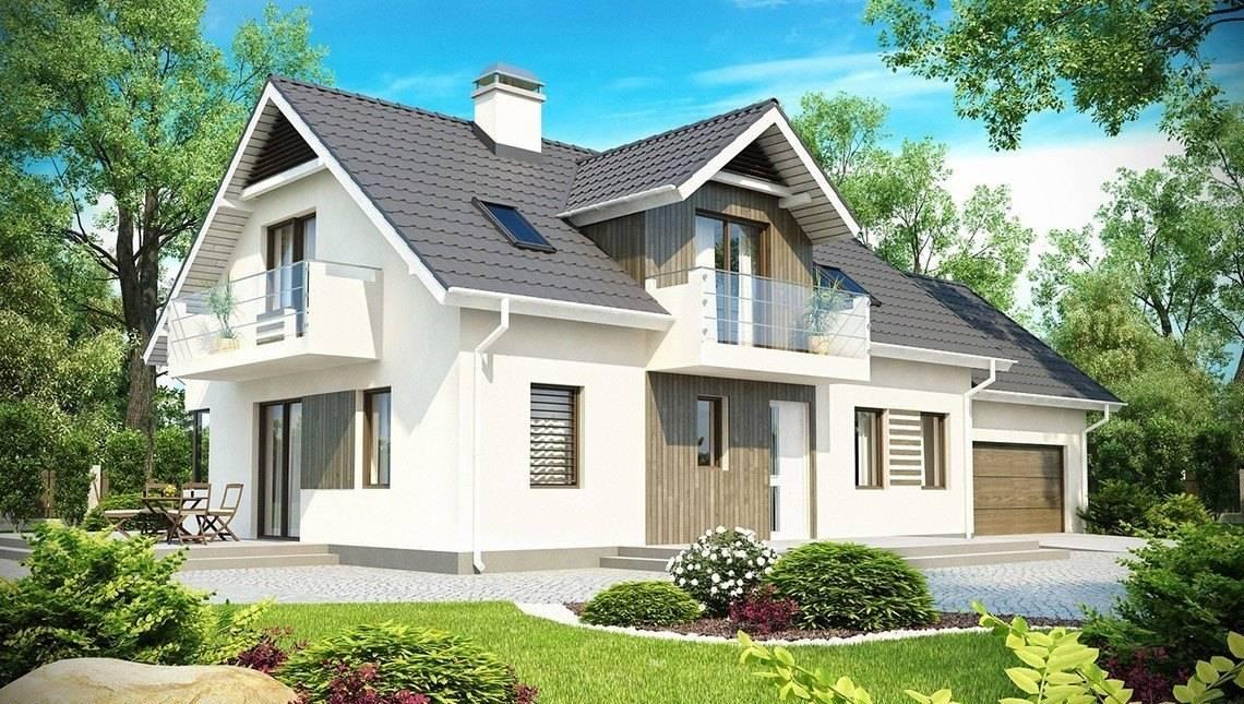 Проект великого котеджу з гаражем, мансардою і додатковою спальнею