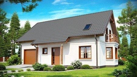 Проект котеджу з вбудованим гаражем, еркером і балконом