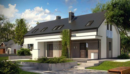 Проект будинку на 2 сім'ї із одним входом