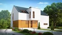 Проект сучасного світлого котеджу з гаражем і двосхилим дахом