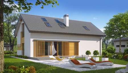 Проект будинку з високою мансардою, великими вікнами у вітальні