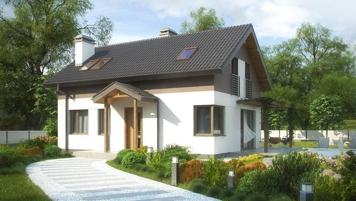 Проект невеликого дачного будинку з кутовим вікном в кухні