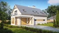 Проект будинку з гаражем, скляним еркером і балконами
