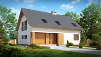 Проект будинку з мансардою, великим технічним приміщенням і кабінетом
