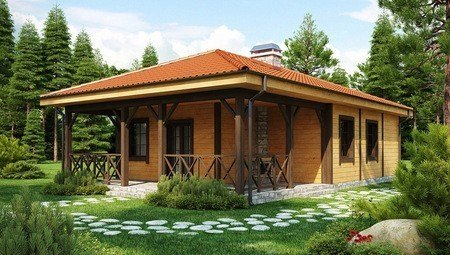 Проект будинку з великою критою терасою