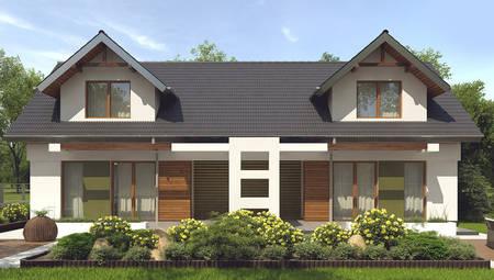 Проект практичного котеджу з мансардою і зручним балконом