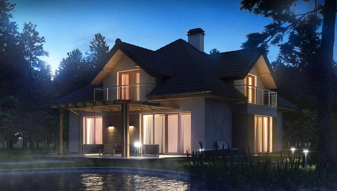 Проект будинку з фасадними вікнами і гаражем для двох автомобілів