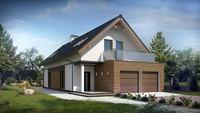 Проект будинку для вузької ділянки з терасою над гаражем