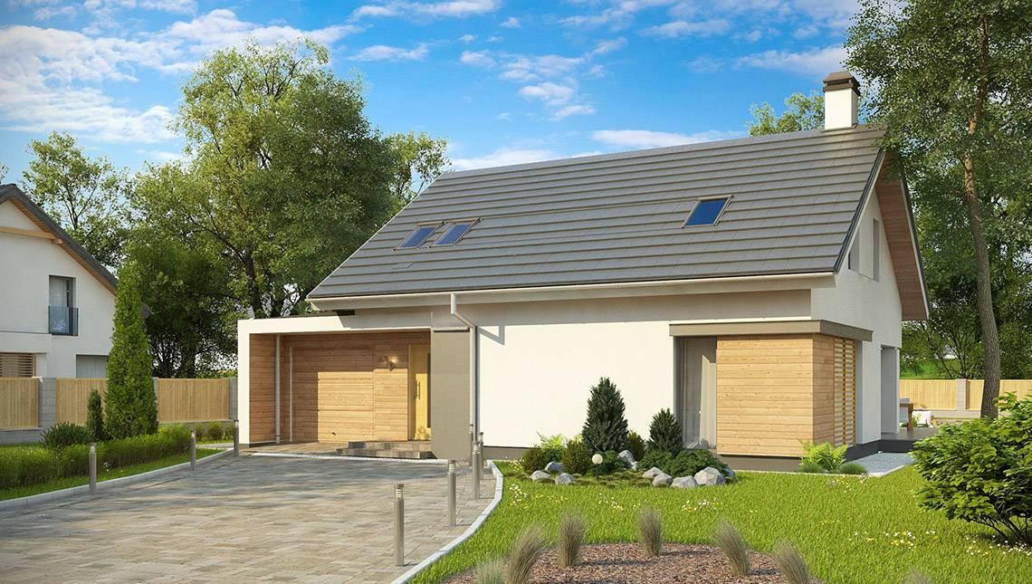 Проект будинку з мансардою та гаражем з лівого боку