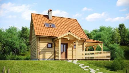 Проект невеликого будинку з мансардою і бічною терасою