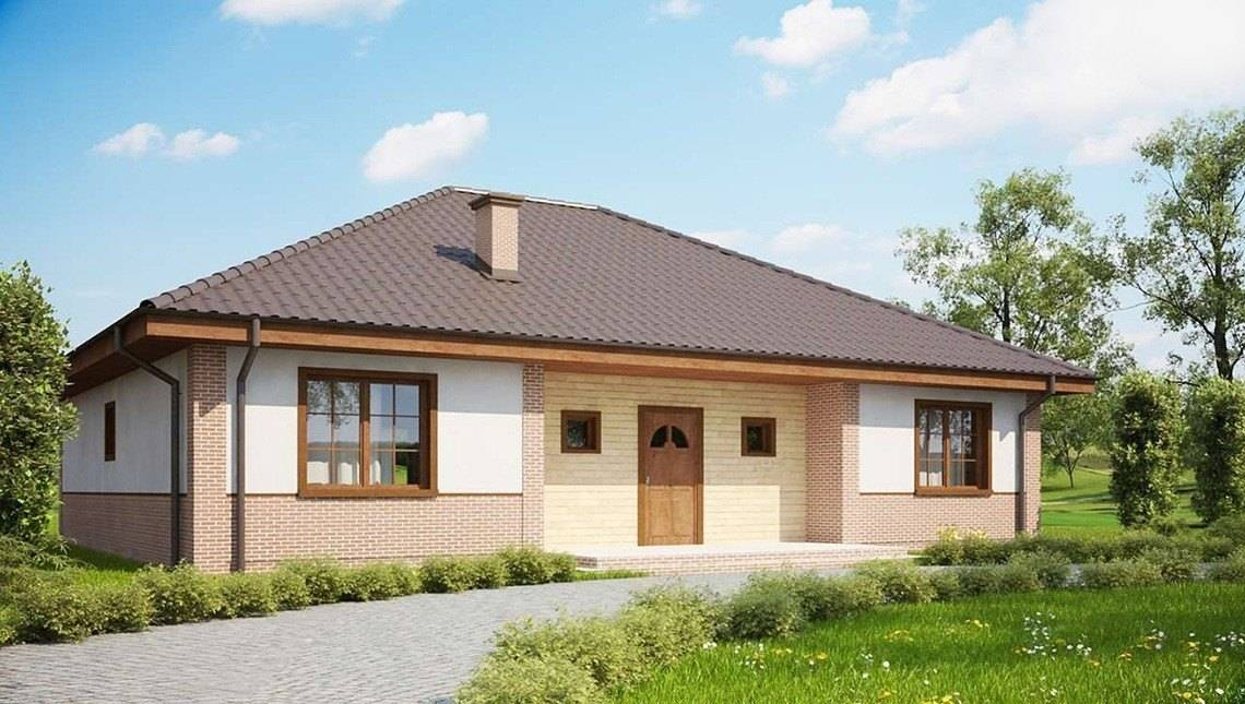 Проект одноповерхового будинку з цегляним фасадом