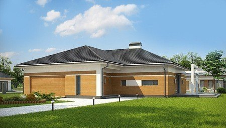 Проект стильного одноповерхового будинку з великим гаражем для 2 авто