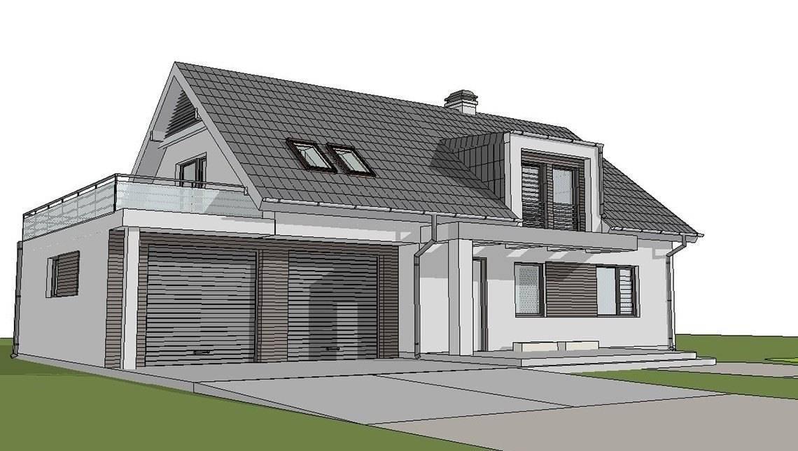 Проект світлого затишного котеджу з мансардою та гаражем для 2х автомобілів