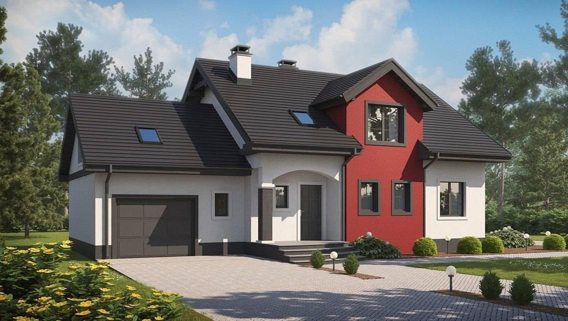 Проект будинку з гаражем і еркером