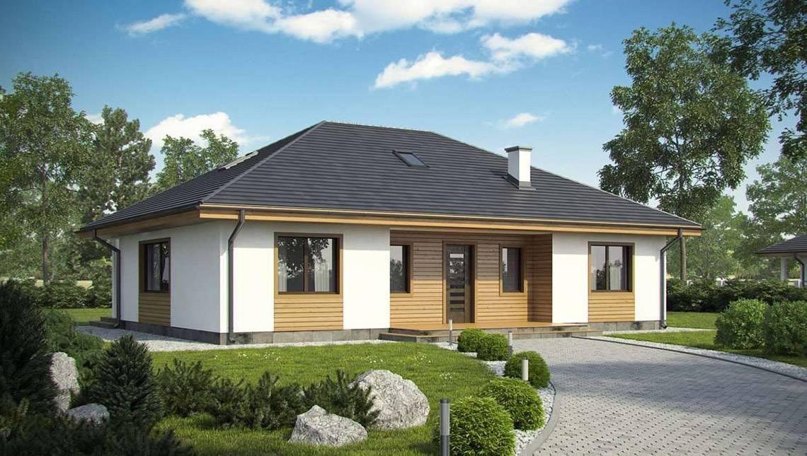 Проект одноповерхового будинку в класичному стилі з чотирьохскатним дахом