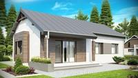 Проект одноповерхового котеджу з сучасними елементами фасадів