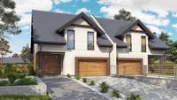 Проект двоповерхового котеджу на дві сім'ї з гаражем