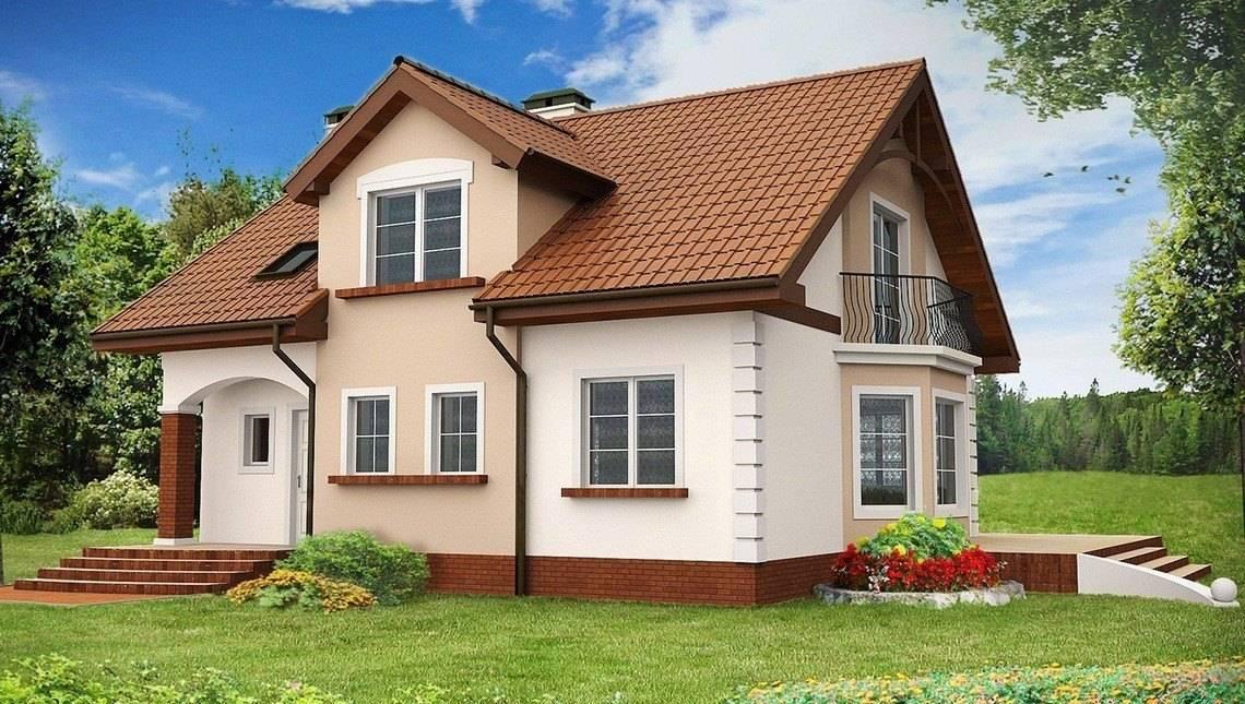 Проект традиційного будинку з мансардою і еркером
