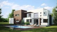 Проект сучасного будинку з просторою терасою над гаражем
