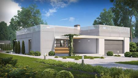 Проект будинку хай-тек з гаражем на дві машини