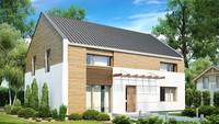 Проект двоповерхового будинку з двосхилим дахом