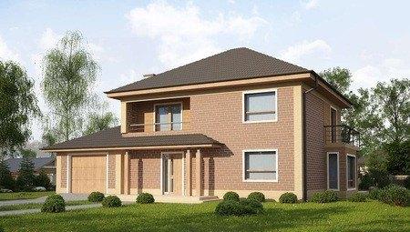 Проект великого двоповерхового котеджу з гаражем і чотирьохскатним дахом