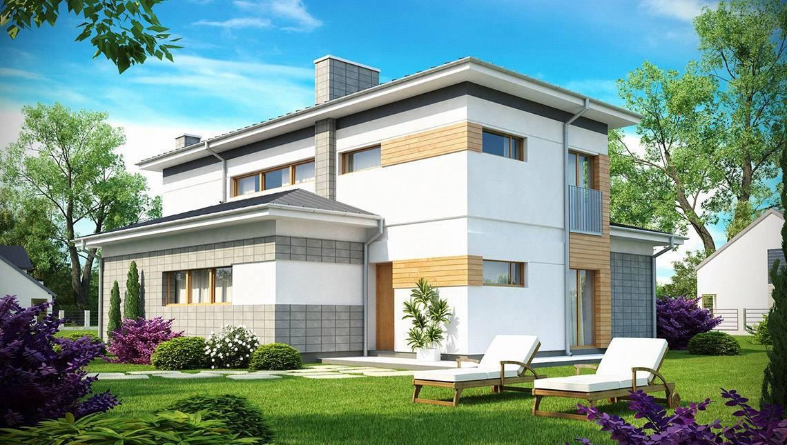 Проект двоповерхового будинку з прибудованим гаражем