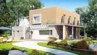 Проект сучасного котеджу з терасою над гаражем