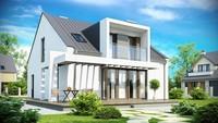 Проект сучасного котеджу з мансардою і зручним балконом