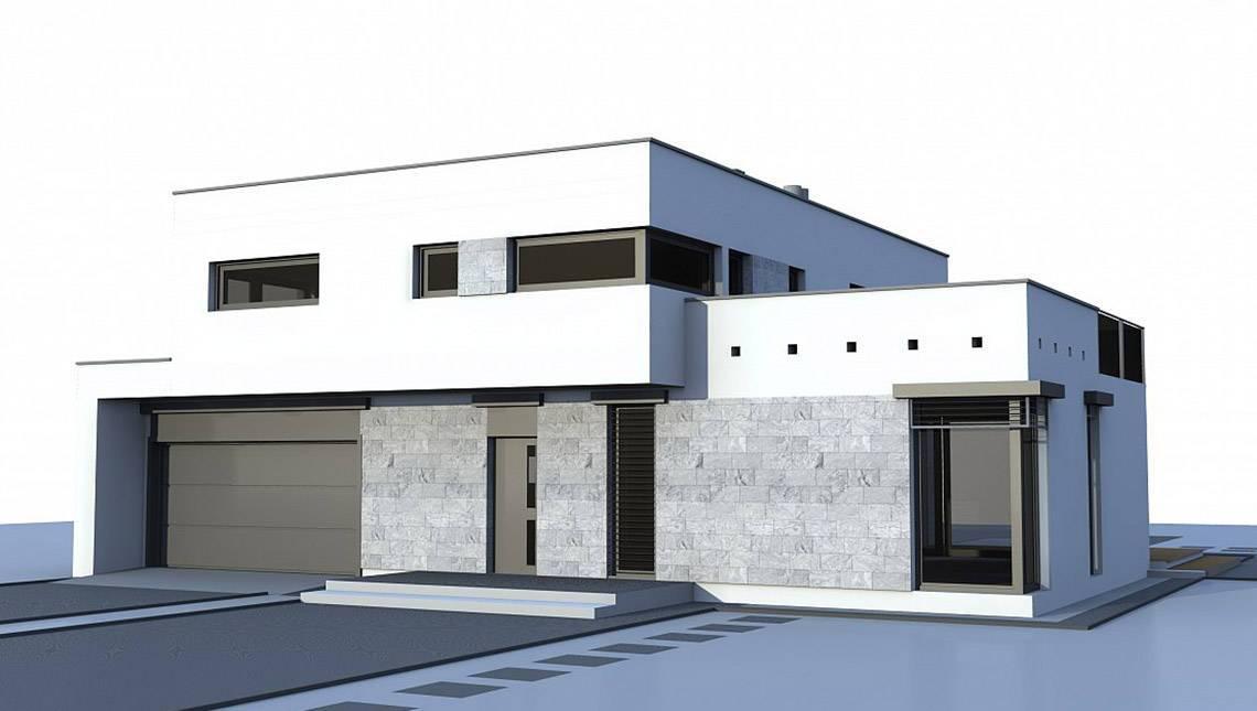 Проект котеджу в стилі хайтек з гаражем для двох авто