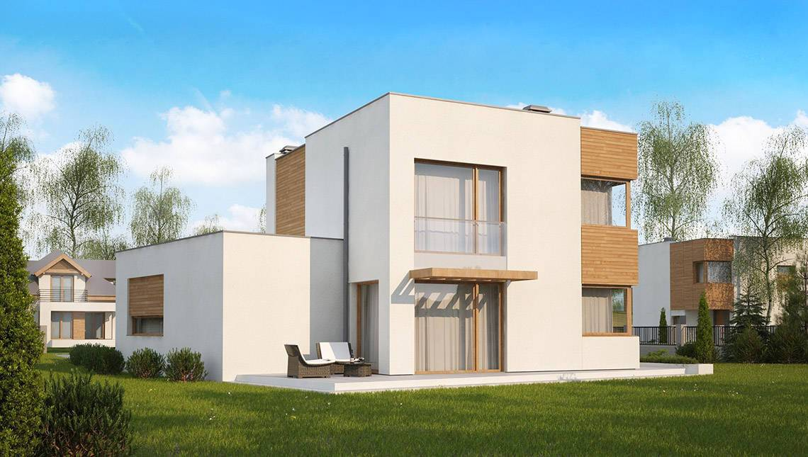 Проект сучасного невеликого будинку з гаражем