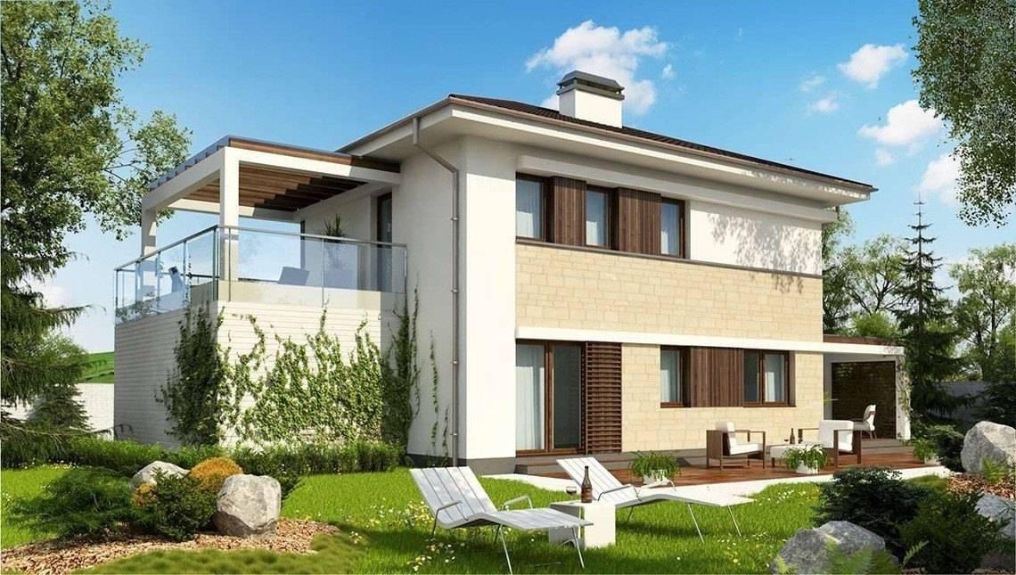 Проект двоповерхового будинку модерн з гаражем