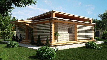 Проект сучасної дачі з плоским дахом