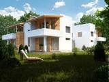 Проект сучасного будинку на дві сім'ї з плоским дахом